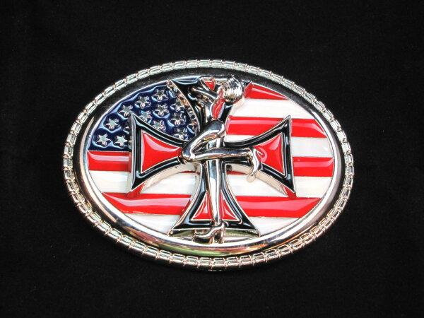 US Flagge Buckle Eisernes Kreuz Gürtelschnalle Ledergürtel für Wechselgürtel