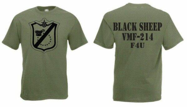 US Marines Blacksheep VMF-214 F4U T-Shirt S-5XL WK2 USMC Pacific Pappy Boyington