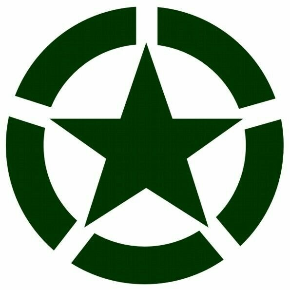 Allied Star Fahrzeug Aufkleber Grün US Army USMC US Car Truck Ram V8 WWII WK2