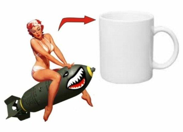 Pin-up Shark Bomb Kaffee Tasse USMC US Army Navy Seals Marines Rockabilly WK2