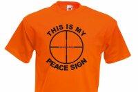 """Sniper Scharfschützen Gunner Visier Target T-Shirt """"This is my Peace Sign"""" 2 -5X"""