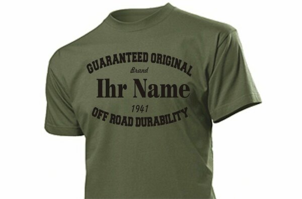 "T-Shirt ""Ihr Name/Marke"" Guaranteed Original Gr S-XXL US Army WK2 WWII 4x4"