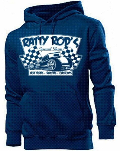Hoody Rockabilly Ratty Rods Speed Shop Custom Vintage US Car Hot Rod Nose Art V8