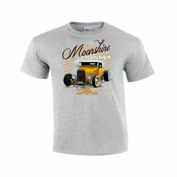 T-Shirt Vintage Moonshine Runner Hot Rod Dragster Nose Art Rockabilly US Car V8