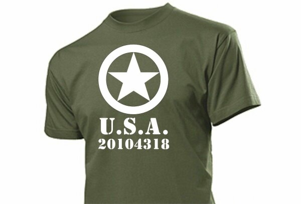 US Army Allied Star T-Shirt License Plate Vehicle Number WWII WK2 WH Gr 3-5XL