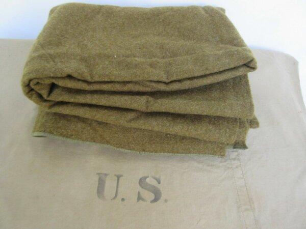 US Army Quartermaster Decke Wolldecke Blanket Mustard USMC WWII WK2 Marines Mint