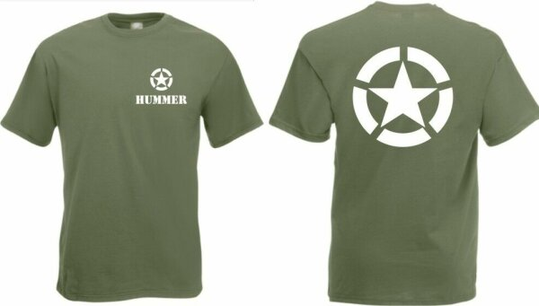 US Army T-Shirt Hummer Allied Star Gr 3-5XL H1 TOP 4x4 Off-Road HMVEE US Car