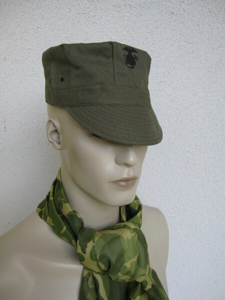 US Army USMC Marine Corps Green HBT Utility Cap WK2 WWII Gr 61 Marines Pacific