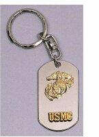 USMC Insignia Dog Tag Key Ring Chain...