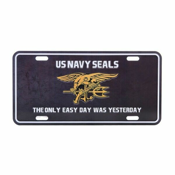 License Plate WWII US Army Navy Seals Insignia The only easy Day was yesterday