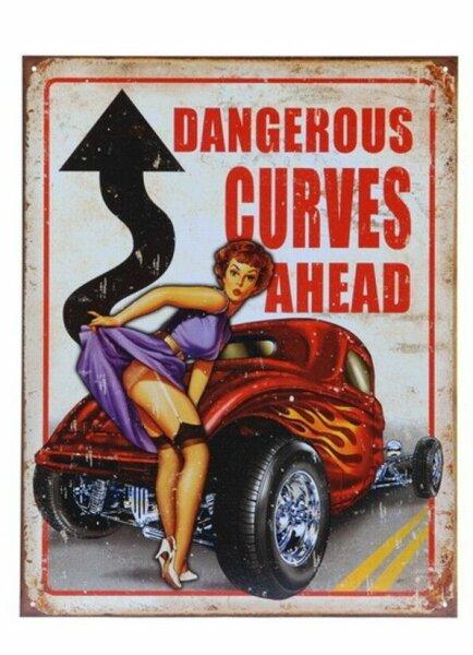 Metall Schild Dangerous Curves Ahead Sign Pin-up Nose Art Hot Rod V8 Rockn Roll