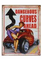 Metall Schild Dangerous Curves Ahead Sign Pin-up Nose Art...