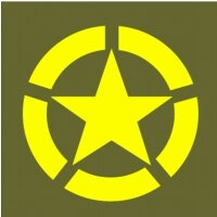 Allied Star Fahrzeug Aufkleber Gelb US Army USMC US Car...