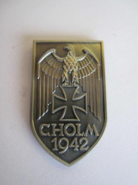 Cholm Schild Pin 1942 WH Wehrmacht WK2 WWII Ostfront