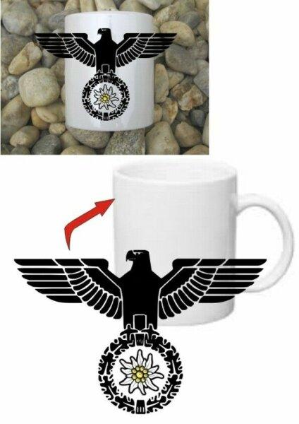 Gebirgsjäger Edelweiss Reichsadler Kaffee Becher Tasse Mug WH WWII WK2 Mountain