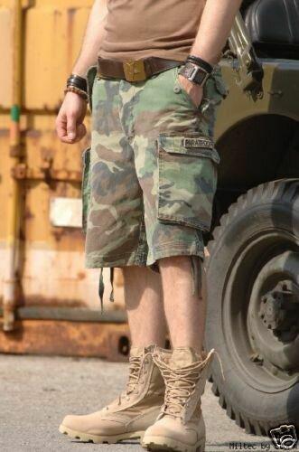 US Army M65 Woodland Shorts Prewashed Paratrooper Gr XS Camo Shorts USMC Seals