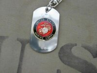 US Marines Insignia Dog Tag Key Ring Chain...