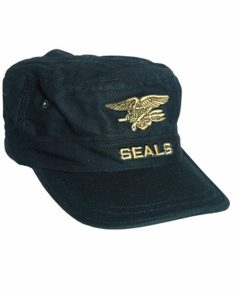US Navy Seals Field Cap Black Feldmütze Eagle Anchor Seals Insignia Cap One Size