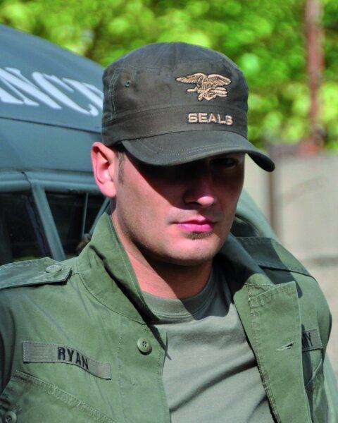 US Navy Seals Field Cap Oliv Feldmütze Eagle Anchor Seals Insignia Cap One Size