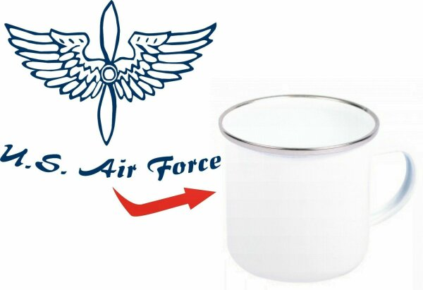 USAAF Air Corps Airforce Propeller US Army Emaille Tasse Kaffeetasse Coffee Mug