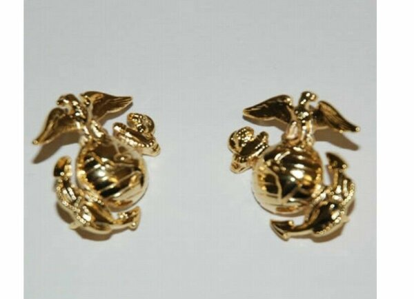 USMC Insignia Collar Badge Brass Screw B Marine Corps Army Navy Vietnam WK2 WKII