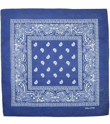 Western Halstuch Bandana Paisley Tuch Schal Headwrap Rockabilly Old School Blau
