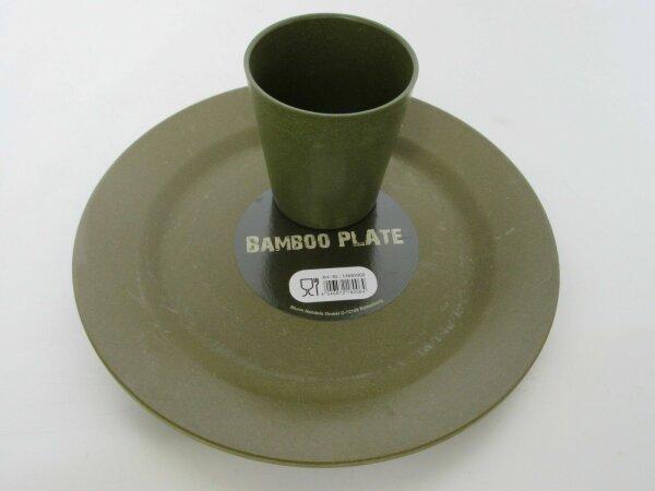 Bambus Teller + Becher Bamboo Plate + Cup Light Camping Geschirr Outdoor Army