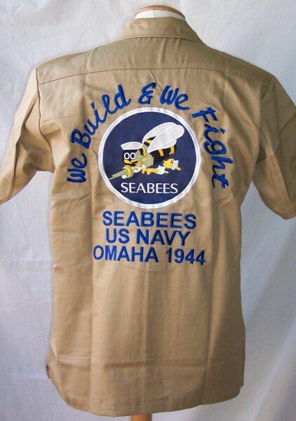 US Army Seabees Naval Construction Nose Art Tour Shirt  WK2 Navy USMC Seals Gr M