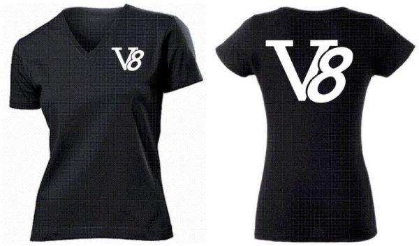 V8 V-Neck T-Shirt US Car Big Block Size S-XL