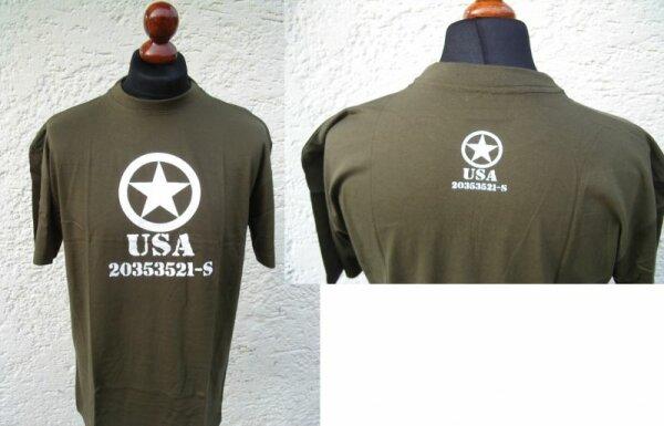 US Army Allied Star T-Shirt mit Nr Oliv Gr S-XXL
