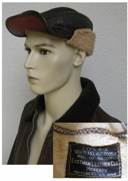B2 Eastman Vintage Leather Cap Flight Cap Sheepskin
