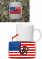 V8 US Car mit US Flagge Kaffeetasse #1