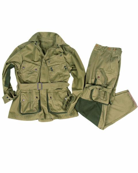 US Army Paratrooper Anzug Feldanzug Jacke & Hose M42 Suit Reinf. WWII WK2 Gr 48