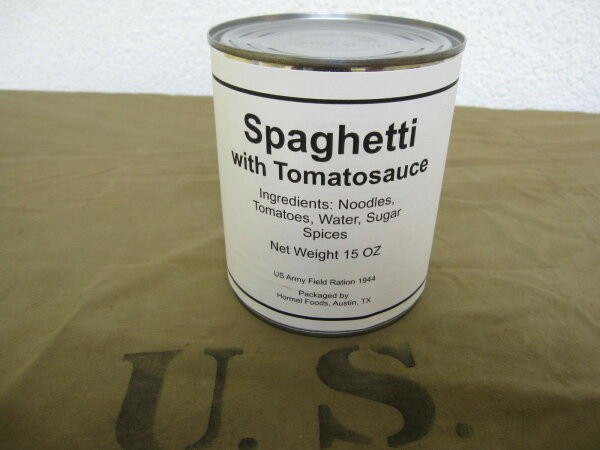 US Army Spaghetti with Tomatosauce Hotpot Canned Field Ration WKII WH WK2 Seals