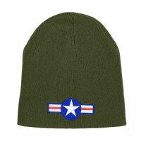 US Army USAAF Kokarde Airforce Watch Strickmütze Beanie Hat Round Cap WWII WK2